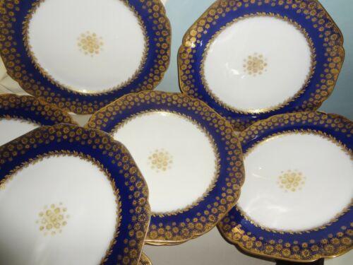 """VRare SET/10 1876 HAVILAND depose COBALT & GOLD DECORATED 9 1/2"""" DINNER PLATES"""