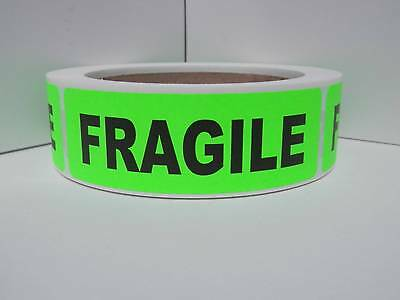 Fragile 1.125x3.5 Warning Stickers Labels Fluorescent Green Bkgd 250rl