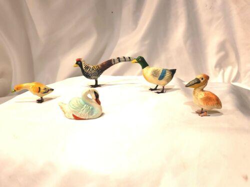 Lot of 5 Antique Putz Birds Germany Composition Christmas Nativity Metal Legs