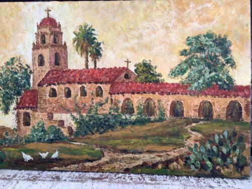 "Original Mixed Media Serene Church Painting 20""X30"" Signed K.S."