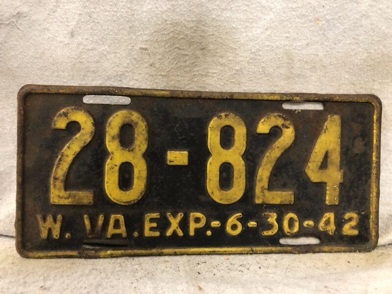 Vintage 1942 West Virginia License Plate