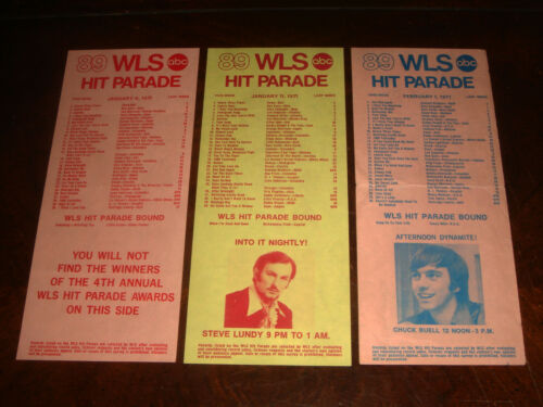 LOT OF 3 WLS 890 SILVER DOLLAR SURVEY Chicago Radio Top 40 Charts from 1971