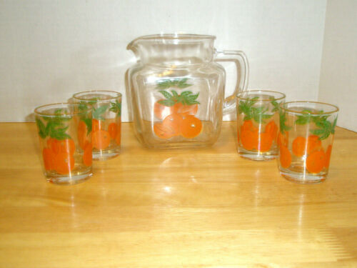 Vintage 5 Piece FEDERAL GLASS Juice Pitcher and 4 Glasses Oranges