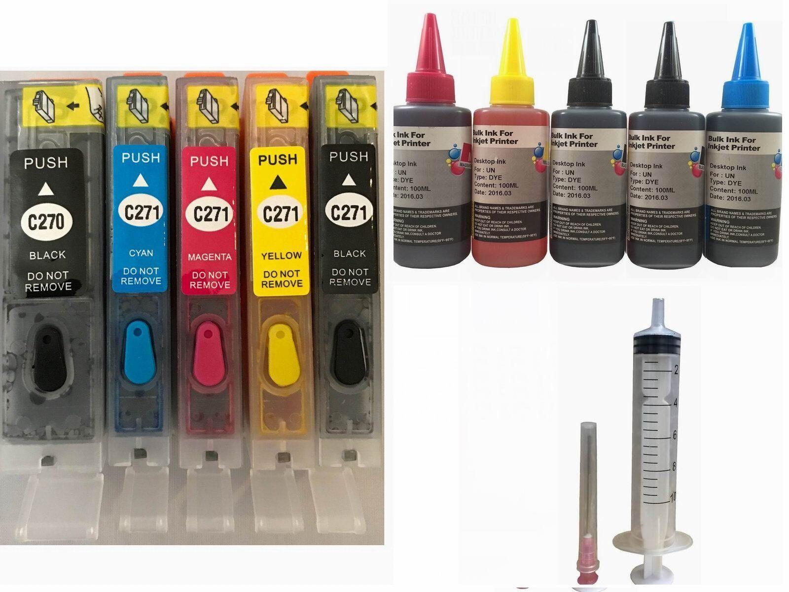 Refillable Ink Kit Cartridge Set For Canon Pgi 270 Cli 27...