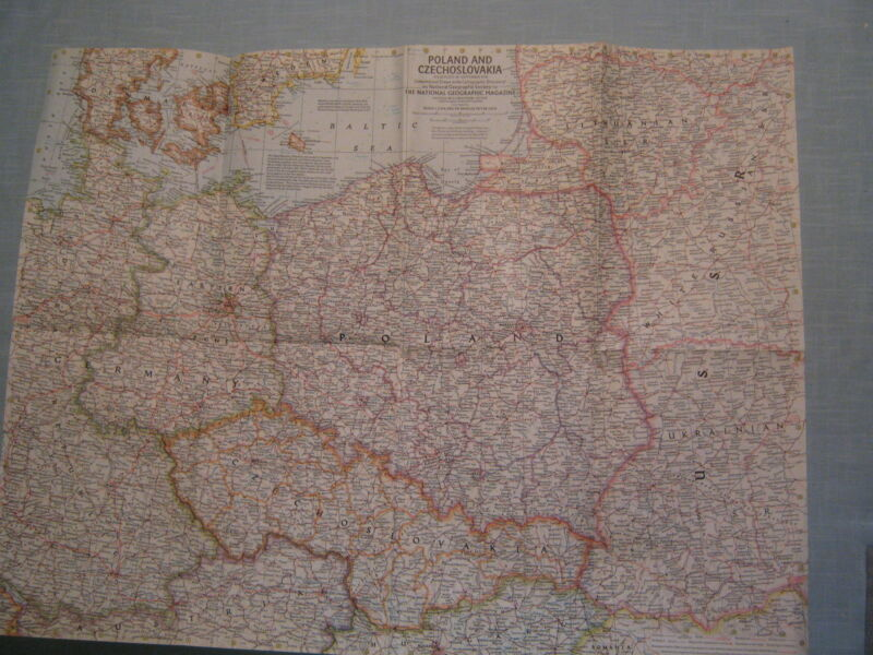 VINTAGE POLAND AND CZECHOSLOVAKIA MAP National Geographic September 1958