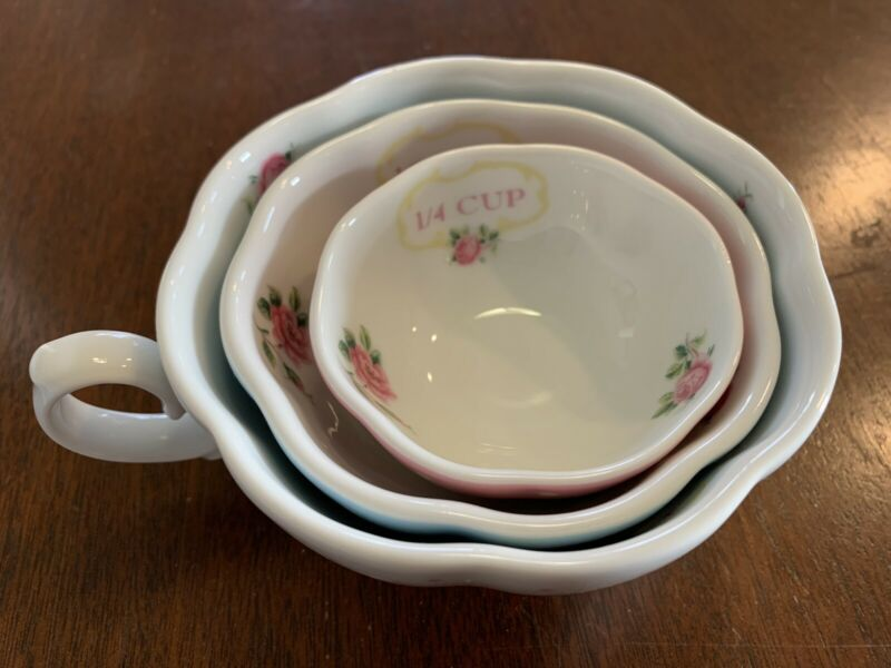 Royal Albert Country Roses Nested Measuring Cups Polka Dots 3pc Set