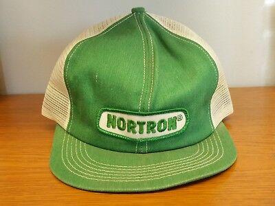 - Vtg 70s-80s NORTON Trucker Farmer green Mesh Snapback-Patch K-Brand ball cap hat