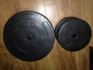 Weight bench bar and weights