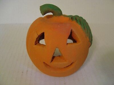 SMALL HAND CRAFTED POTTERY PUMPKIN  JACK-O-LANTERN CANDLE HOLDER FOR - Halloween Candles Crafts