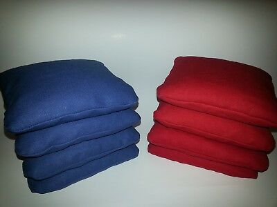 CORNHOLE BAGS SET OF 8 RED AND BLUE QUALITY ACA REGULATION SIZE FREE SHIPPING