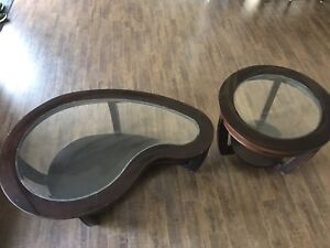 Dark Solid Wood Coffee Table and 2 round end tables