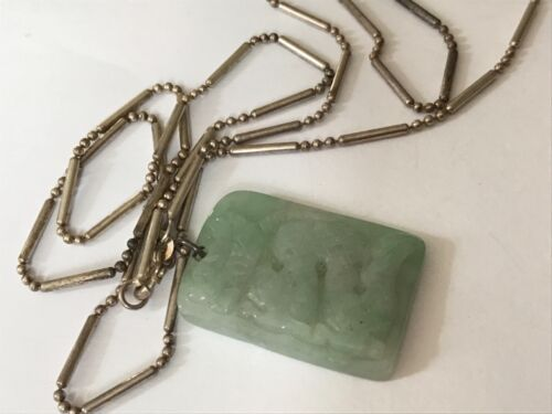 Antique Vintage silver chain carved Chinese  jade dragon pendant necklace drop.