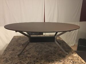 Brown modern oval coffee table