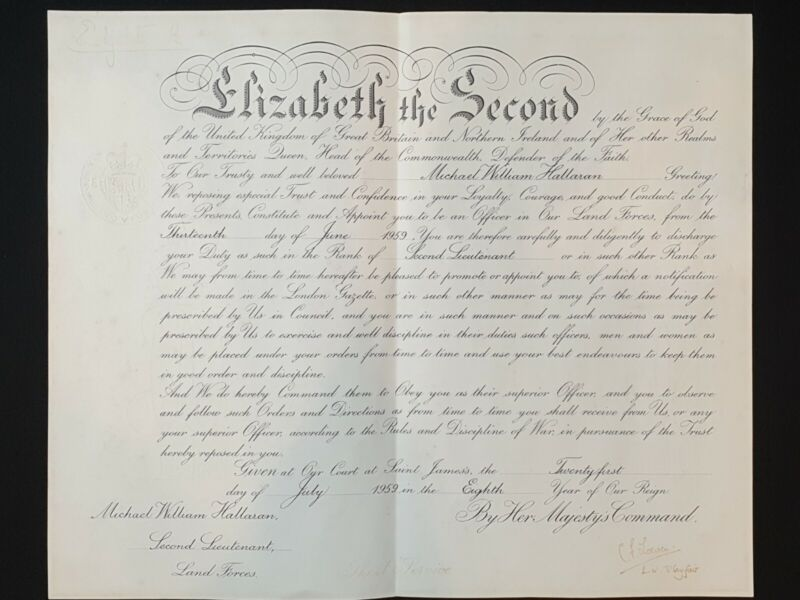 1958 Queen Elizabeth R II Signed Royal Document Military Commission Appointment