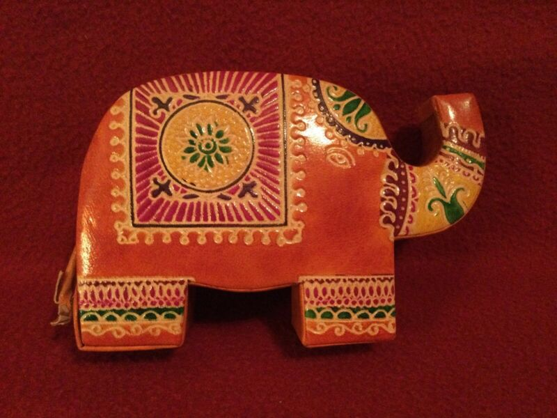 Elephant Leather Coin Bank painted embossment snap open/close new