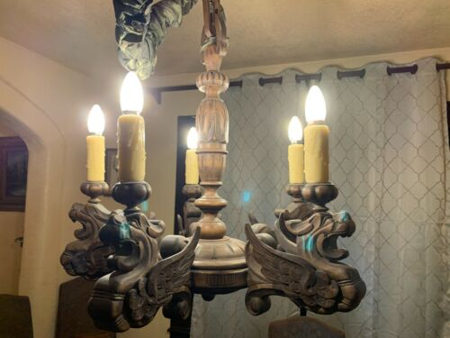 Antique French Gothic Hand Carved Wood Griffin Chandelier