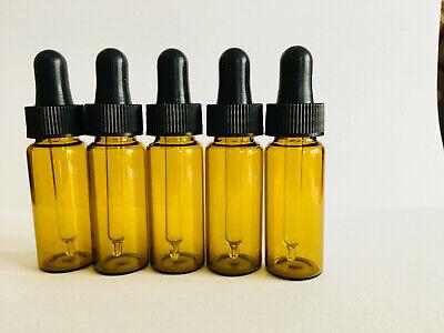 FIVE Amber Glass 10ml Pipette Bottle Eye Ear Drop Dropper ml Aromatherapy - Amber Glass Drop
