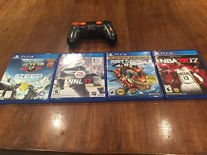 4 PS4  games and a call of duty 3 controller