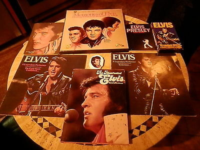 LOT OF ELVIS COLLECTABLES RECORDS TAPE BOOKS HANGINGS