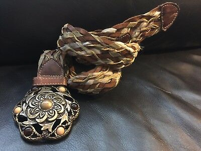 Streets Ahead Women's Belt Braided Brown Leather Gold Taupe Ribbon Size 34