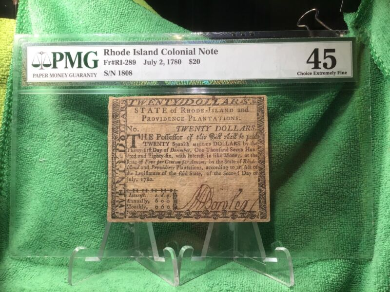 July 2, 1780 Rhode Island $20 Dollar Colonial Currency Note RI-289 PMG S 1808