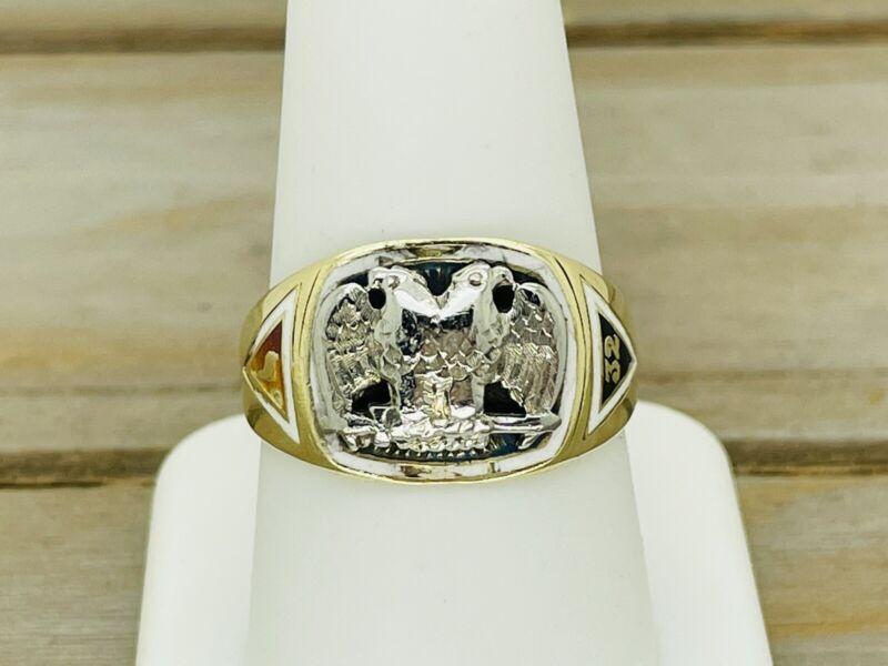 Vintage 14kt Yellow Gold Double Headed Eagle 32nd Degree Mason Masonic Ring 9.5