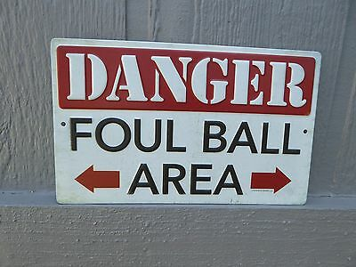 DANGER FOUL BALL AREA Baseball Stadium Sport MLB Athlete Mancave METAL SIGN