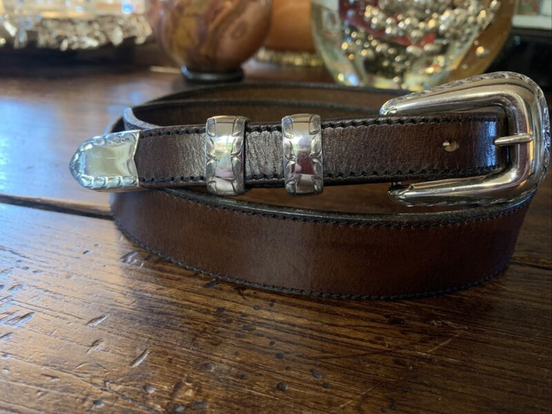 "Vogt James Reid style Bright Cut Sterling Silver Belt buckle set 37-39-1.25""✅"