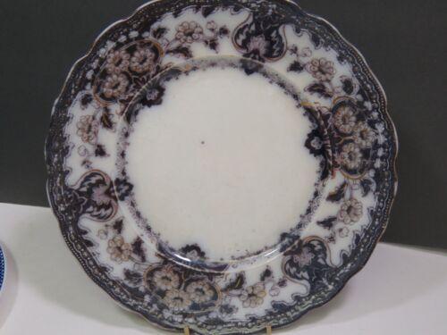 "Antique semi-porcelain FLOW Black Seville Dinner Plate 9.75"" Wood & Son England"
