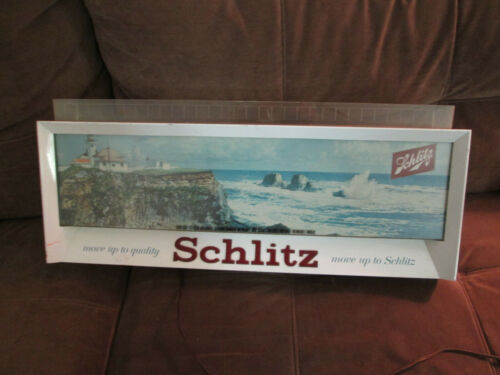 1958 Schlitz Beer Lighted Sign Ocean Lighthouse Scene Move Up to Schiltz RARE