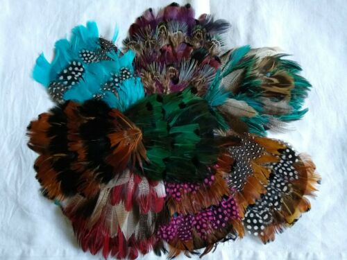 "VINTAGE LOT OF 8 FEATHER COCKADES~HAT TRIMS~MILLINERY~ALL DIFFERENT~5""~UNUSED"