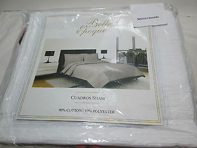 New CGG Home Fashions Belle Epoque CUARDROS Standard Pillow Sham 20x26 ~ White