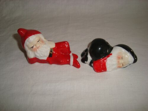 Vintage Ceramic Christmas Santa Pixie Elves set of 2