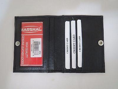 Men's Black Bifold Genuine Leather Wallet ID Credit Card Money Holder W/ Snap.