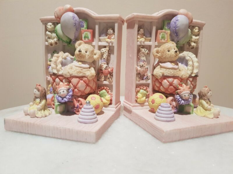 Children Nursery Bookends With Teddy Bears