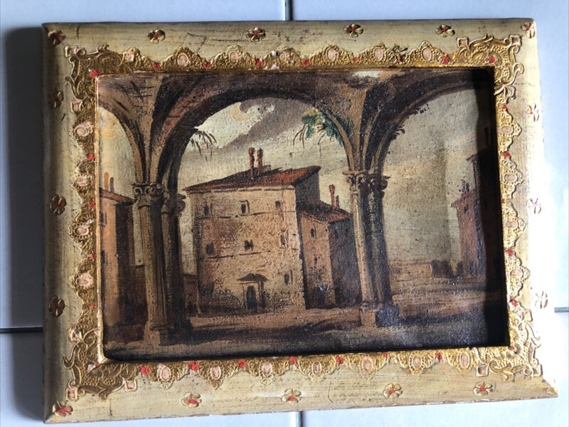 """Original 19Th C Italy Painting With Fratelli Paoletti Frame  7"""" X 9"""""""
