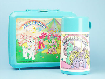 Vintage 1989 Aladdin MY LITTLE PONY LUNCHBOX With THERMOS Blue