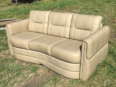 "2013 Villa International RV Sofa 75"" Ultraleather boat motorhome couch Tan"