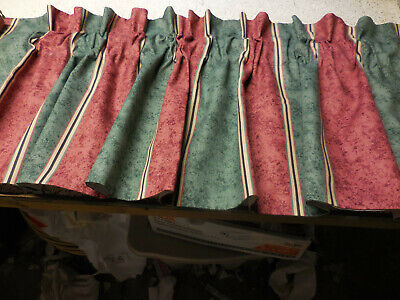 4 lined  Valances Custom Made wiWide Stripes Green and Rose / Gold 16-1/2