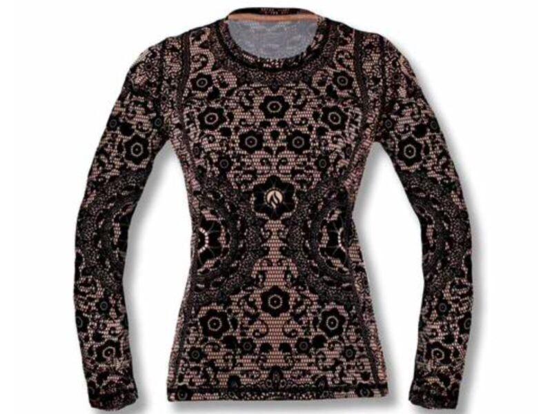 INKnBURN Women's Black Lace Long Sleeve Small