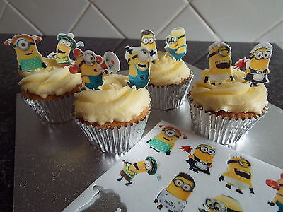 Minion Cupcake Stand (16 PRE CUT STAND UP MINION DESIGN EDIBLE WAFER PAPER CUPCAKE TOPPERS)