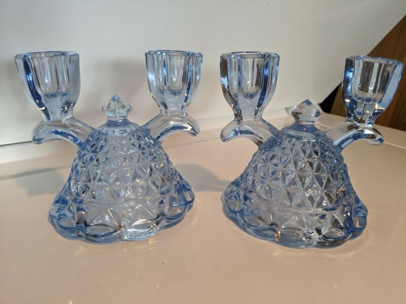 Vintage Imperial Katy Blue Lace Edge Double Candle Holders