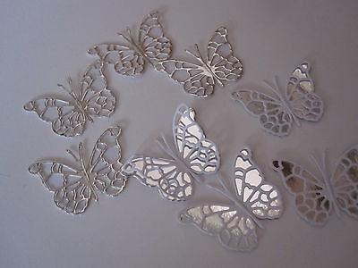 14 SMALL 3D DIE CUT BUTTERFLY TOPPERS  IN SILVER MIRRI / WHITE CARD 7 + 7