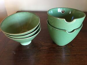 Five green Asian style bowls . New. Essendon Moonee Valley Preview