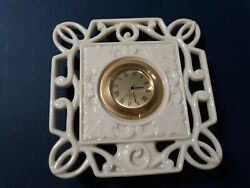 Sm Lenox Porcelain Clock Ivory and Gold Suitable for Desk or Tabletop UNTESTED