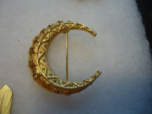 Danecraft vtg gold tone rhinestone Moon pin