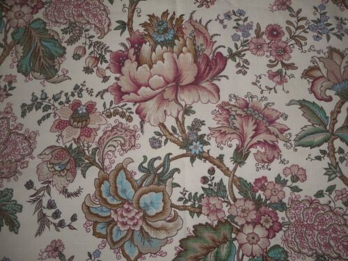 Vintage French Indienne Floral Cotton Fabric ~ Apricot Rose Green Blue