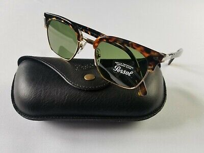 PERSOL PO3199S 1081/52 TORTOISE GOLD TAILORING EDITION GREEN LENS SUNGLASS (Persol Clubmaster)