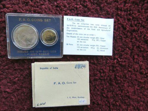 SCARCE 1970 Proof Set F.O.A. 2 Coin Set INDIA ORIGINAL MINT BOX AND COA