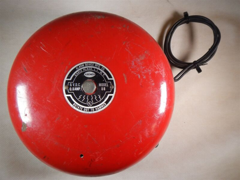 Used Ademco Alarm Device Mfg. Co. Model U8 Alarm Bell 6VDC T2